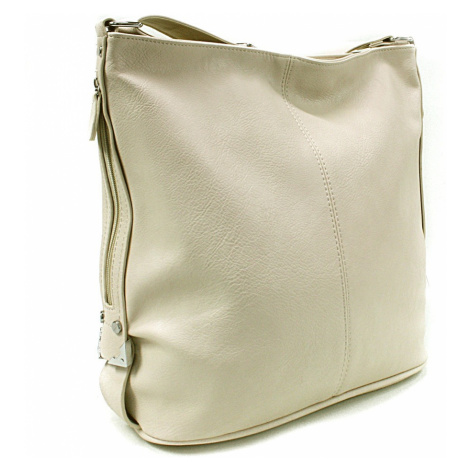Béžová velká crossbody kabelka se stříbrnými doplňky Alvie Mahel