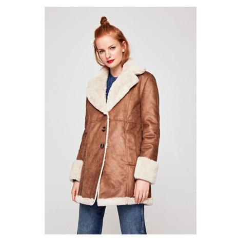 Pepe Jeans dámský hnědý kabát s kožíškem
