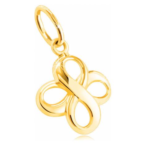 Přívěsek ze 14K žlutého zlata - dva hladké lesklé symboly INFINITY Šperky eshop