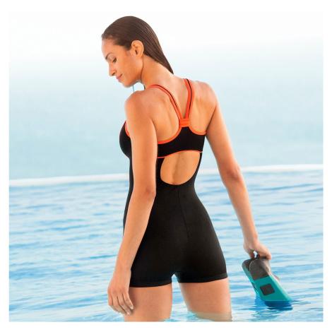 Blancheporte Jednodílné plavky s nohavičkami a kontrasty černá/oranžová