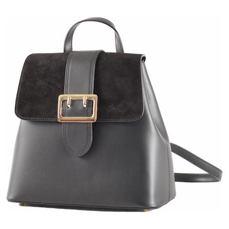 Elegantní dámský kožený batoh s klopnou černý, 29 x 14 x 28 (777-09CC)