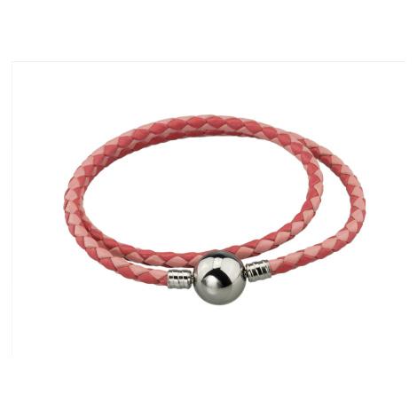 Linda's Jewelry Kožený náramek Dvojitý Růžový Chirurgická ocel INR088 Délka: 19