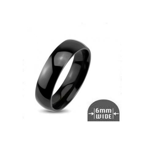 Lesklý kovový prsten - hladká zaoblená obroučka černé barvy Šperky eshop