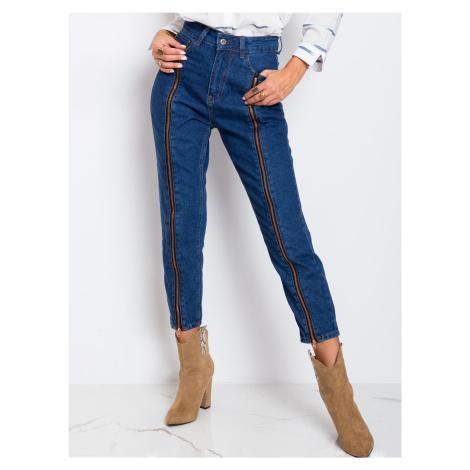 Modré dámské džíny RUE PARIS se zipy