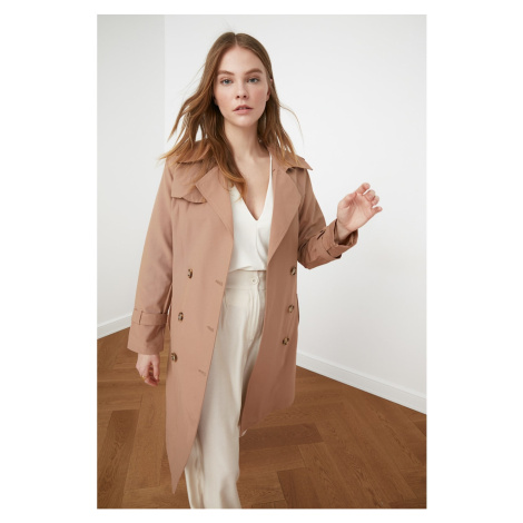 Trendyol Camel Windcover Detailed Belted Long Trençkot