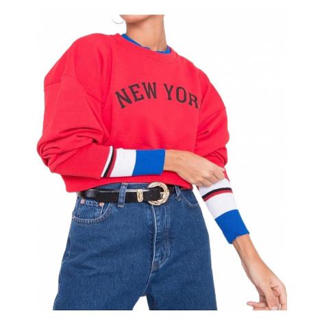 červemo-modrá dámská mikina new york