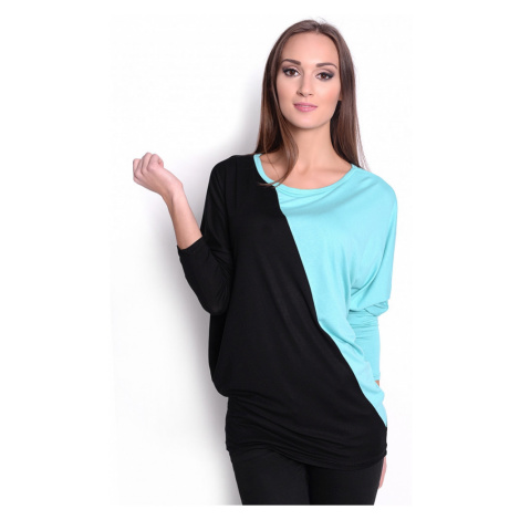 Dvoubarevná tunika s netopýřími rukávy barva mátová/černá Oxyd