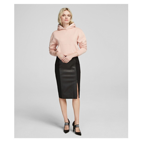 Sukně Karl Lagerfeld Leather & Punto Pencil Skirt - Černá