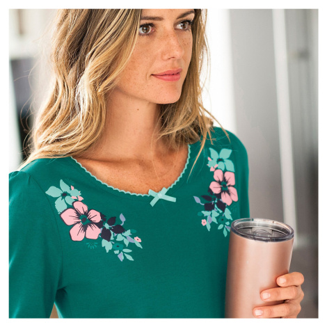 Blancheporte Pyžamové tričko s dlouhými rukávy a potiskem kolem výstřihu smaragdová