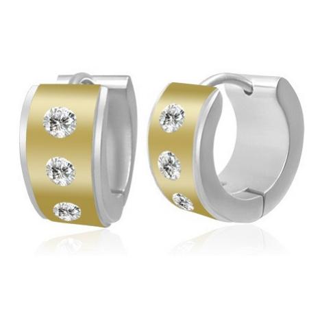 Kruhové dvoubarevné ocelové náušnice - střed se zirkony, okraje stříbrné barvy Šperky eshop