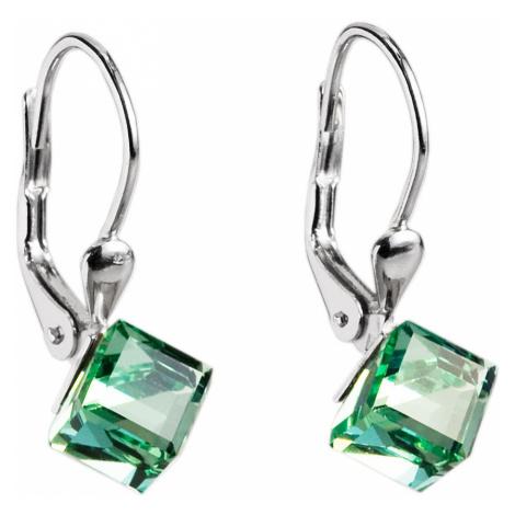 Evolution Group Stříbrné náušnice visací s krystaly Swarovski zelená kostička 31028.3