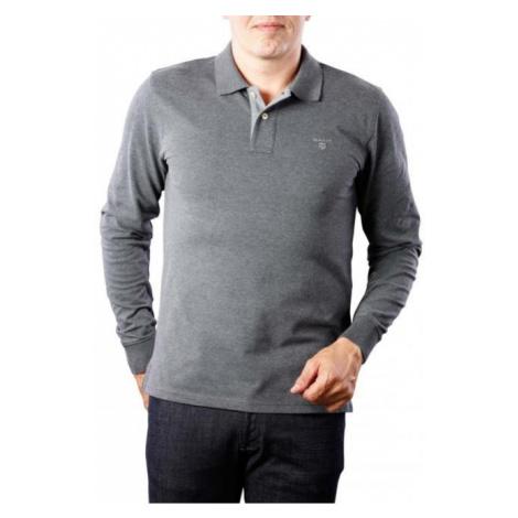 GANT pánské světle šedé polo tričko s dlouhým rukávem