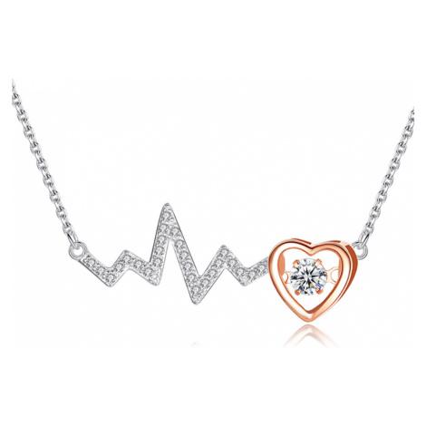 Linda's Jewelry Stříbrný náhrdelník se zirkony Love Srdcebeat INH027