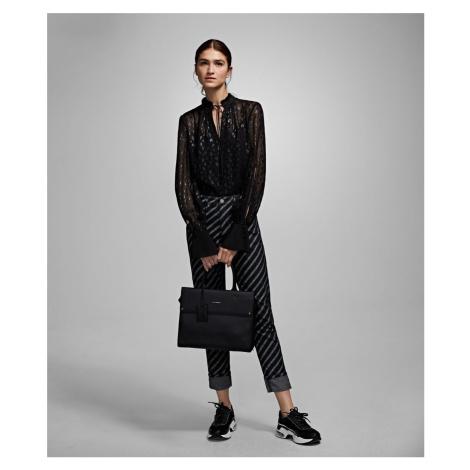 Košile Karl Lagerfeld Leopard Jacquard Shirt - Černá