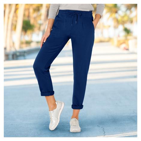 Blancheporte Meltonové kalhoty modrá džínová