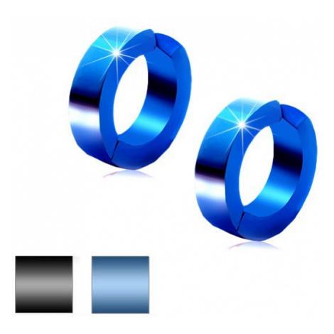 Kruhové náušnice z chirurgické oceli, hladký povrch, metalická barva - Barva: Modrá Šperky eshop