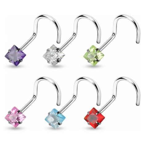 Piercing do nosu zahnutý se čtverečkem - Rozměr: 1 mm x 6 mm x 3 mm, Barva piercing: Červená Šperky eshop