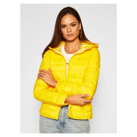 Tommy Jeans dámská žlutá prošívaná bunda s kapucí Tommy Hilfiger