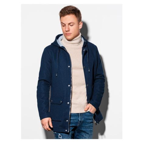 Ombre Clothing Nádherný kabát v granátové barvě C454