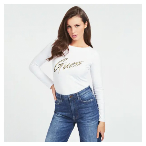 Guess dámské bílé triko s dlouhým rukávem