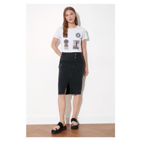 Trendyol Midi Denim Skirt with Black Double Button Detail Asymmetrically Closed Slit
