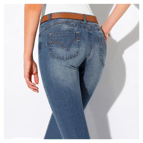Blancheporte Rovné džíny s push-up efektem, pro nižší postavu sepraná modrá