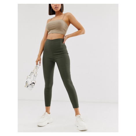 ASOS DESIGN high waist trousers in skinny fit-Green