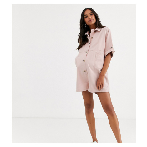 ASOS DESIGN Maternity lounge easy button front playsuit with pockets in blush-Pink