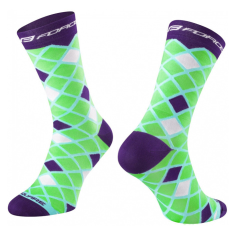 Cyklistické ponožky Force Square zeleno-fialové