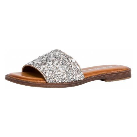 TAMARIS Pantofle stříbrná / bílá