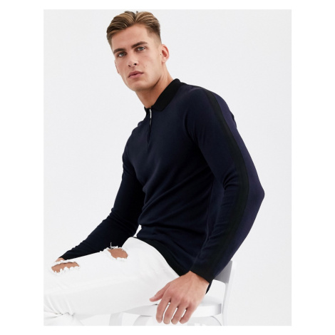 River Island knitted polo in navy