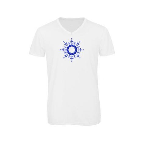 Pánské triko s výstřihem do V Kulatý folklorní vzor