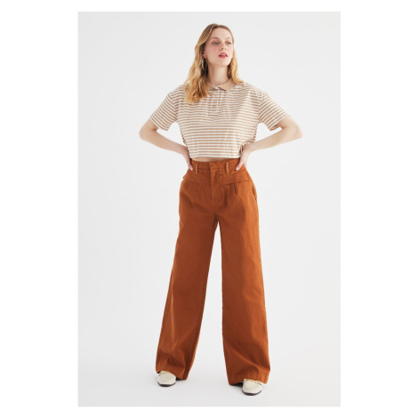 Trendyol Camel Pleated High Waist Wide Leg Jeans