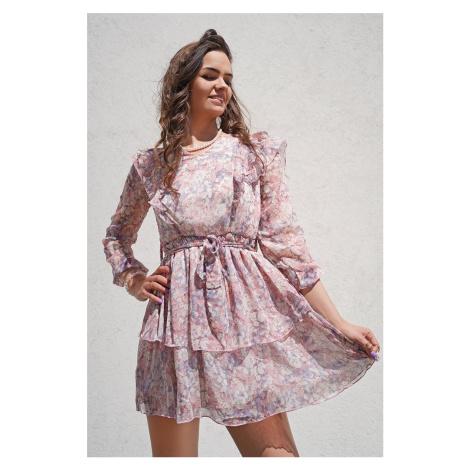 Světle růžové květované krátké šaty Violet Vittoria Ventini