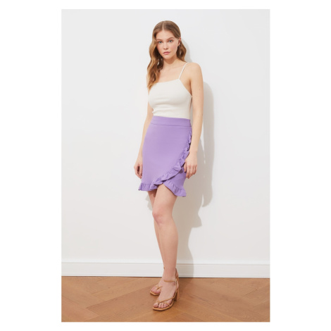 Trendyol Lilac Ruffle Knit Skirt