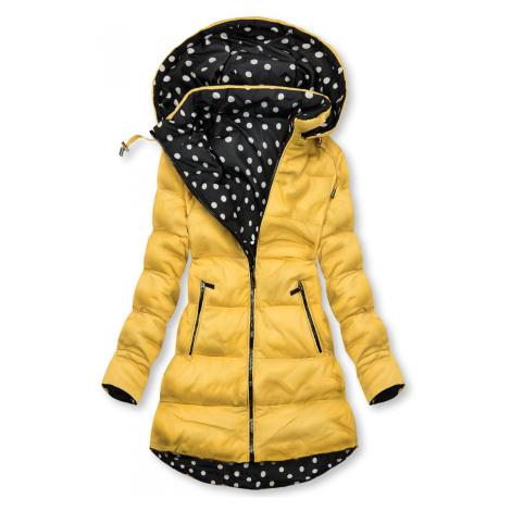 Oboustranná bunda žlutá/tečkovaná Butikovo