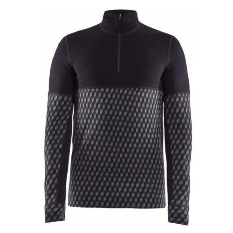 Pánské tričko CRAFT Merino 240 Zip LS černá/šedá