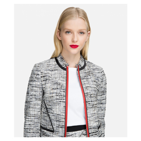 Blejzr Karl Lagerfeld Boucle Jacket W/Satin Piping - Šedá