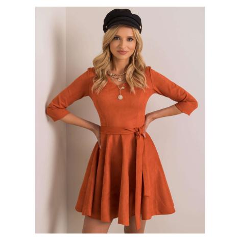 Orange flared dress made of eco suede Fashionhunters