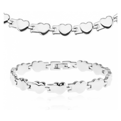 Set z chirurgické oceli - náhrdelník a náramek, lesklá pospojovaná srdíčka Šperky eshop