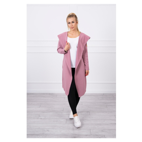 Long cardigan with hood dark pink Kesi