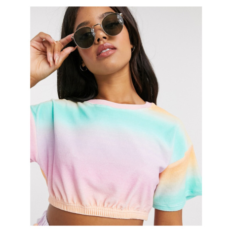 ASOS DESIGN jersey towelling crop top co-ord in pink and green ombre-Multi