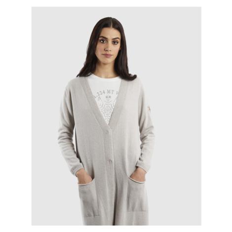Svetr La Martina Woman Cardigan Wool/Cashmere/V - Šedá