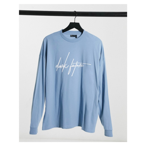 ASOS Dark Future oversized long sleeve t-shirt with script logo in soft blue