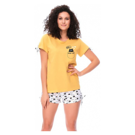 Dámské pyžamo Hello Cat žluté