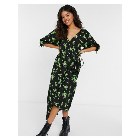 ASOS DESIGN cotton poplin smock wrap midi dress in green floral-Multi