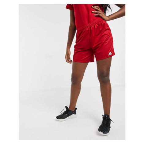 Adidas Football logo shorts in red