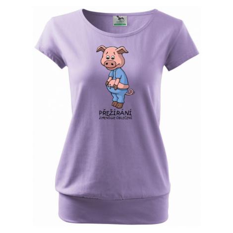Přejídání zmenšuje oblečení (Hana-creative) - Volné triko city