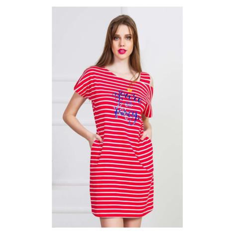 Dámské domácí šaty s krátkým rukávem Red sun, XL, červená Vienetta Secret