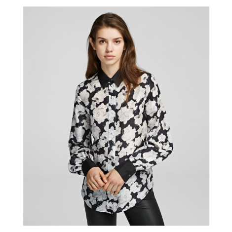 Košile Karl Lagerfeld Orchid Print Silk Shirt - Různobarevná